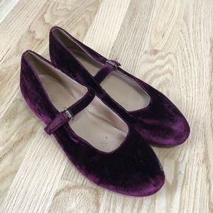 Madewell Coralie Velvet Mary Jane Flats Purple 6.5